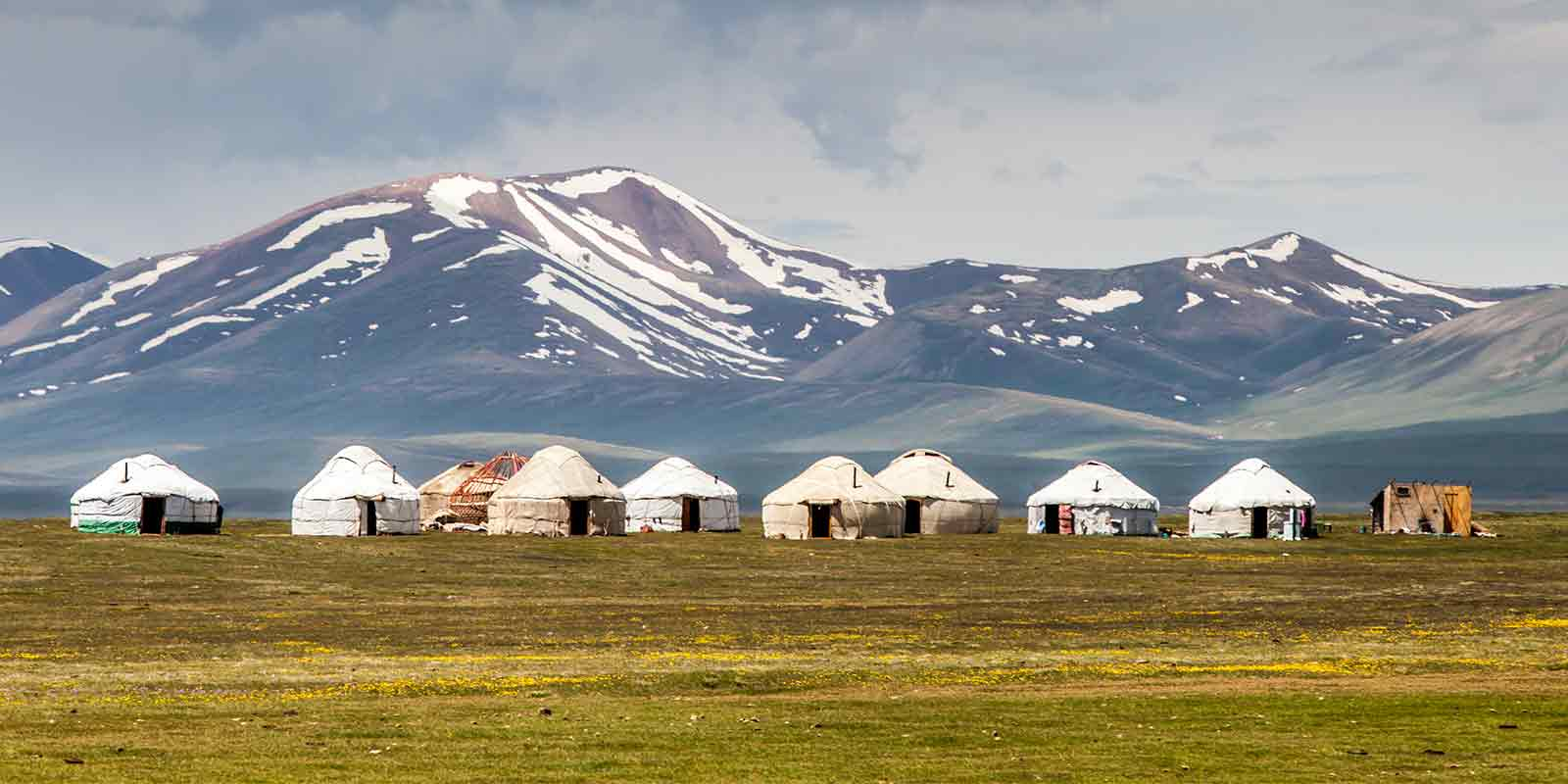 Yurts in shadow of Tien Shan mountains, Kyrgyzstan