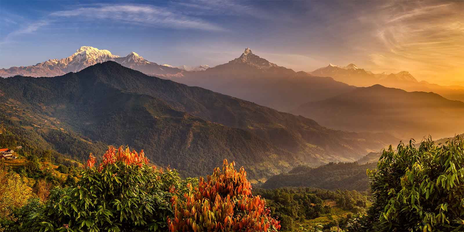 Sunrise over the Himalayas near Pokhara in Nepal