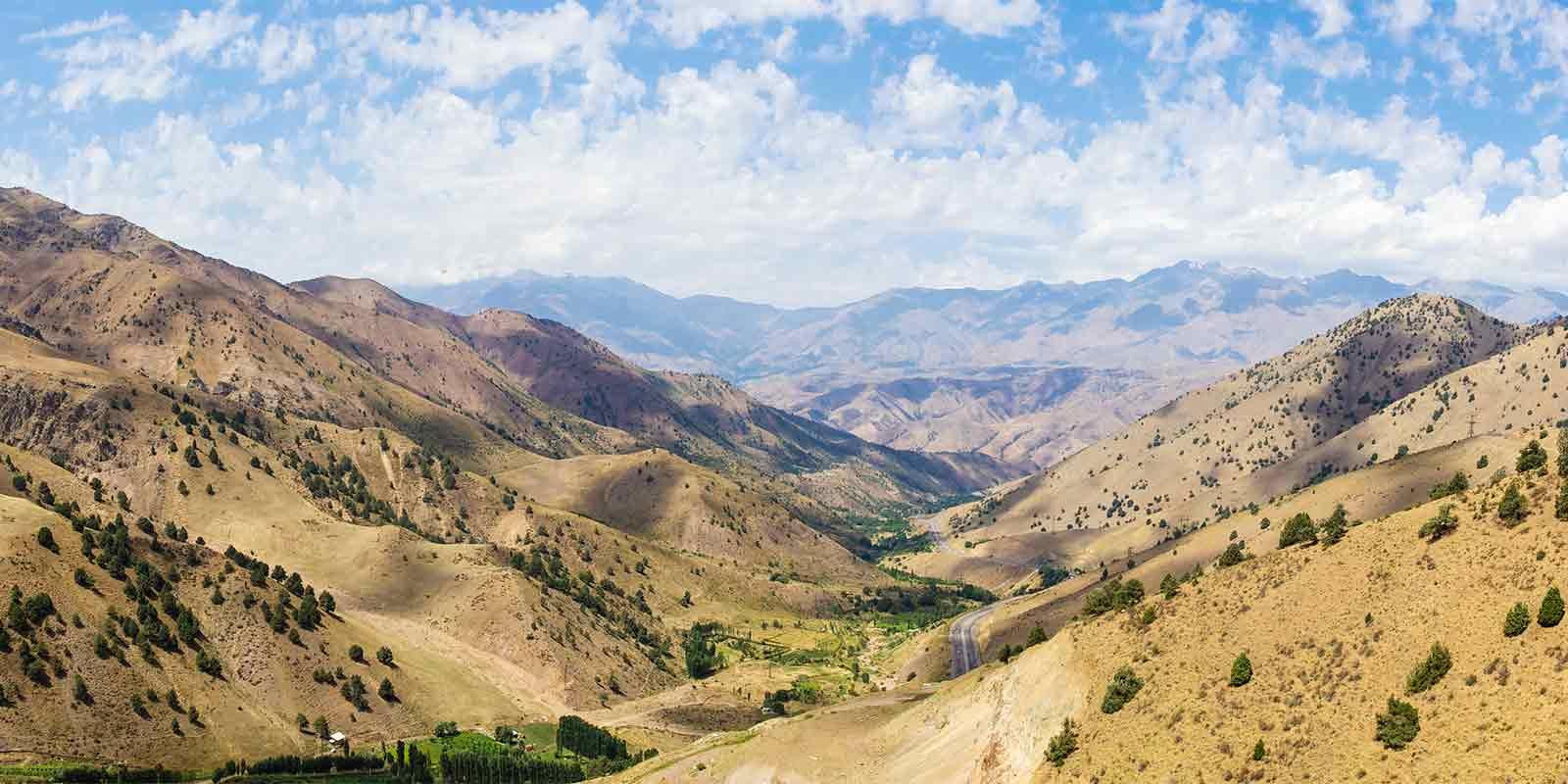 Kamchik Mountain pass in Uzbekistan