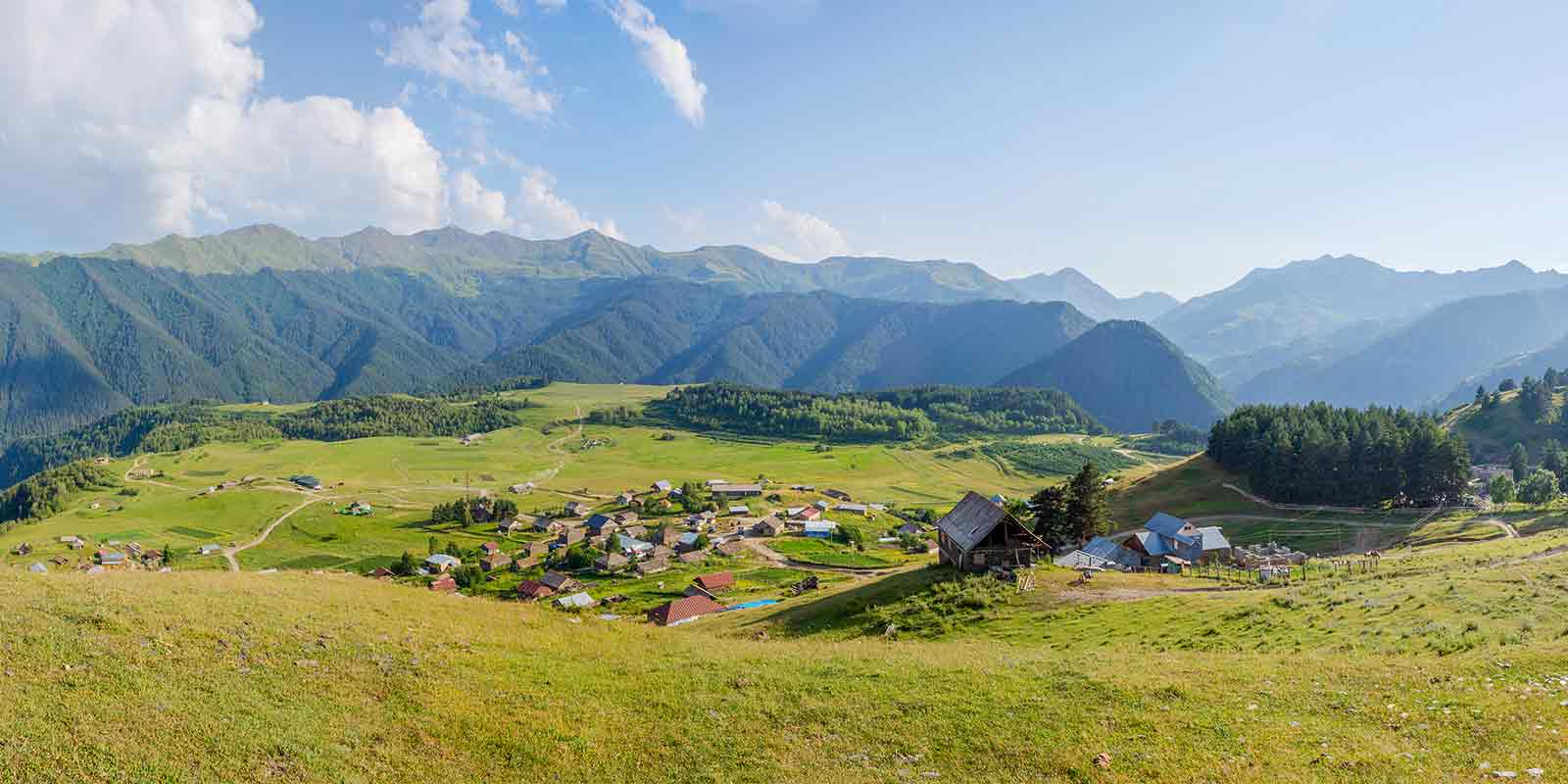 Omalo Village in Tusheti National Park in the Caucasus mountains in Georgia