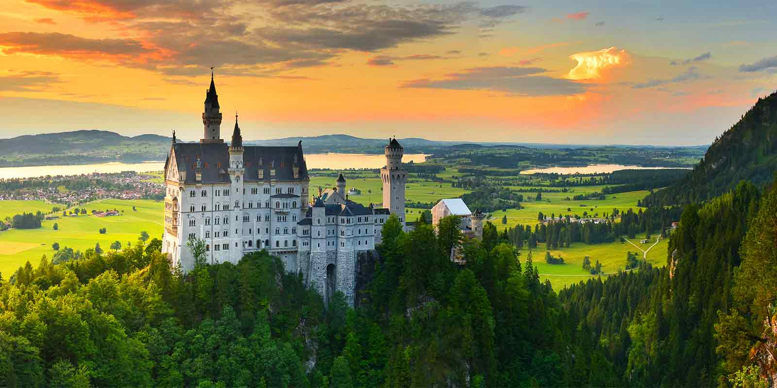 Neuschwanstein Castle in Bavaria at sunset