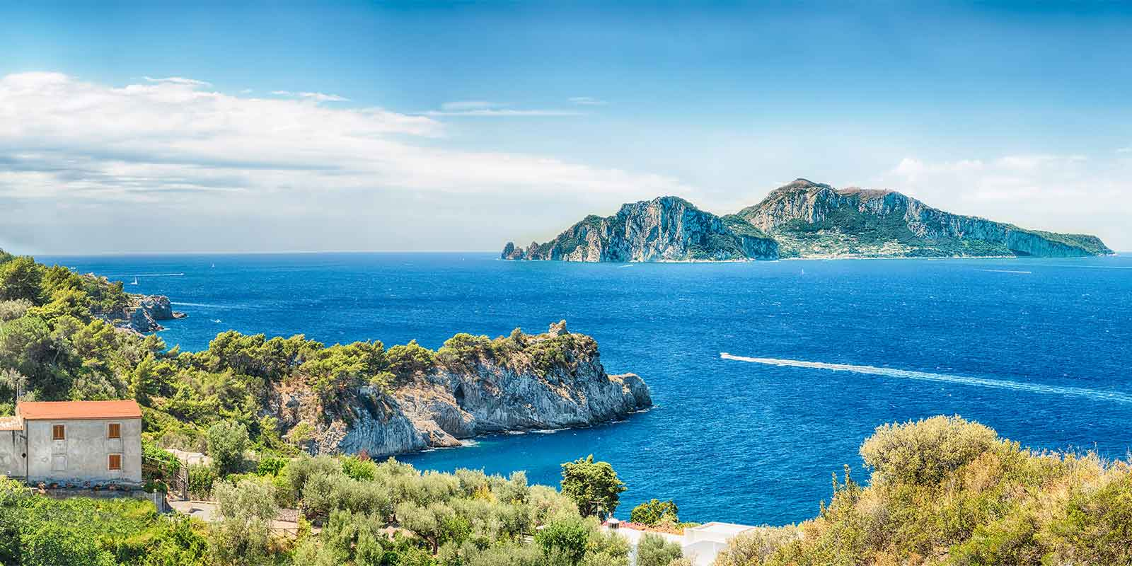 View of Capri from Massa Lubrense in Italy