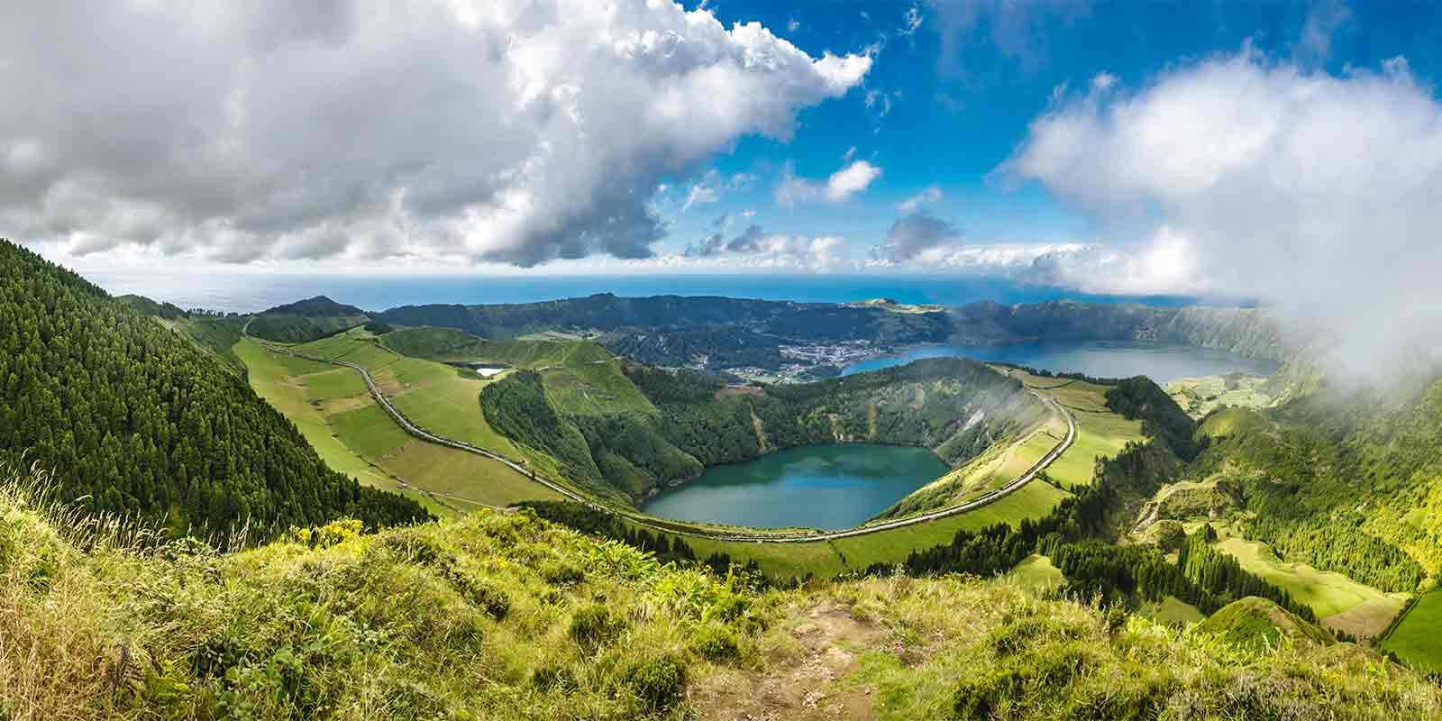 View to Sete Citades caldera in the Azores