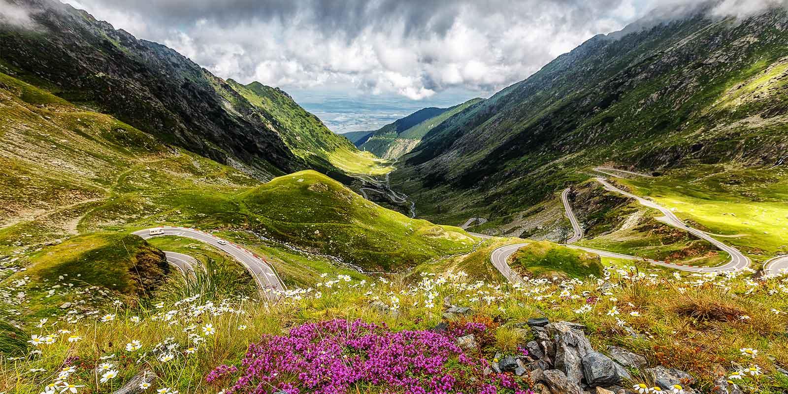 Transfagarasan road in the Carpathian mountains