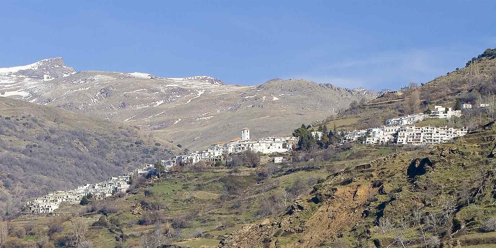 Town of Capileira in the Sierra Nevada mountains on the GR7 walking trail