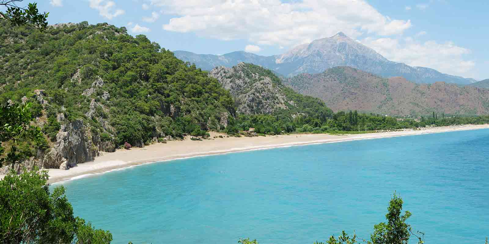 View of Olympos beach on the Turquoise Coast of Turkey