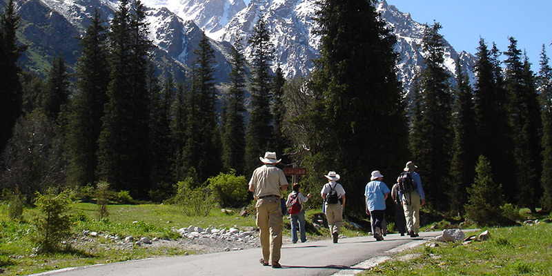 Group of hikers at Ala Archa, Kyrgyzstan