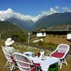 Trekker relaxing at a lodge in the Annapurnas Nepal