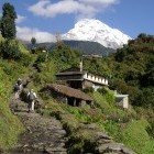Trekkers in the Annapurna region Himalayas Nepal