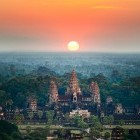Sunrise at Angkor Wat temple complex in Cambodia