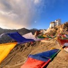 Prayer flags outside the town of Leh in Ladakh, India