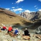 Trekkers resting in the Zanskar Valley in Ladakh