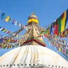 Prayer flags on Bodnath stupa in Kathmandu Nepal