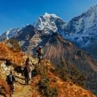 Trekking at Khumbu Sagarmatha Himalayas Nepal