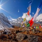Prayer flags at Annapurna Base Camp Himalayas Nepal