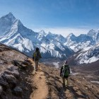 Trekkers en route to Everest Base Camp Nepal