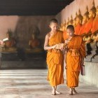 Young monks at temple in Ayutthaya in northern Thailand