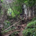 Hikers on trail at Kanchanaburi in Thailand