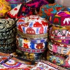 Traditional Uzbek caps in market in Bukhara