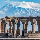 Zvartnos Temple at Yerevan with Mount Ararat in background