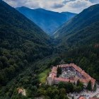 Aerial view of Rila Monastery in Bulgaria