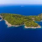 Aerial view of Kolocep Island, part of the Elaphiti Islands in Croatia