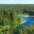 Scenery of forest and lake in Finland