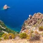 View over Capo Rosso in Piana region on the island of Corsica