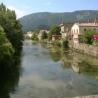 Picturesque Aude River in Quillan, Languedoc region of France