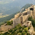 Peyrepertuse Castle in the Pyrenees on the Cathar walking trail.
