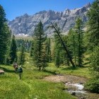 Hikers in Queyras in the French Alps