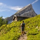 Hiking towards Watzmann mountain in the Bavarian Alps in Germany