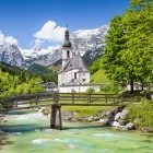 Pretty village of Ramsau in Berchtesgadener Land National Park in Bavaria Germany