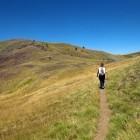 Hiker at Smolikas in the Pindos mountains