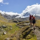 Hikers in the Aosta Valley in Italy