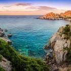 View of Capo Testa in Sardinia at sunset