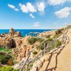Coastal trail with view over Paradise Beach in Sardinia