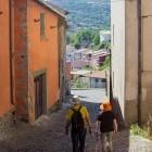 Hikers in Santu Lussurgiu village in Sardinia