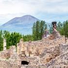 Pompeii ruins and Vesuvius in background