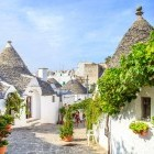 White Trulli houses in the town of Alberobello in Italy