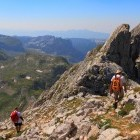 Hikers on mountain in Montenegro