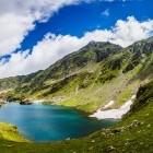 Balea Lake in the Fagaras mountains of Romania