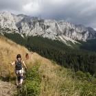 Hiker in Piatra Craiului in Romania