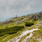 Hikers in the Carpathian mountains of Romania