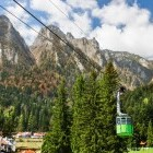 Cable car up the Bucegi mountains in the Carpathians