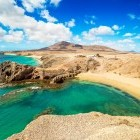 Aerial view of Papagayo Beach in Lanzarote in the Canary Islands