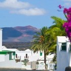 Whitewashed houses in the pretty village of Yaiza in Lanzarote in the  Canary Islands