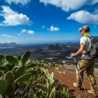Hiker in Lanzarote in the Canary Islands