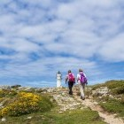 Hikers heading towards the coast on the Camino de Santiago pilgrimage route in Spain