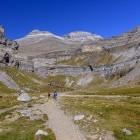 Hikers in the Ordesa Valley in Spain